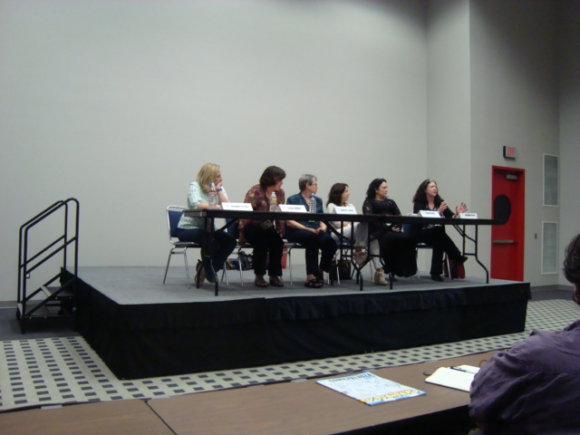 On the panel, World Building, with Jacqueline Carey (far right, I'm far left)